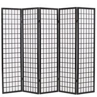 vidaXL foldbar 5-panels rumdeler japansk stil 200 x 170 cm sort