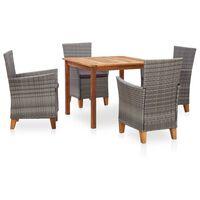 vidaXL spisebordssæt 7 dele polyrattan og massivt akacietræ grå