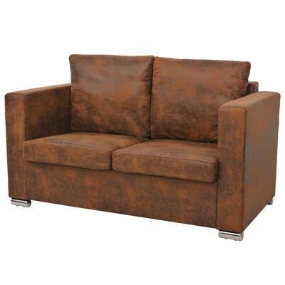 vidaXL sofasæt i 3 dele kunstigt ruskindslæder