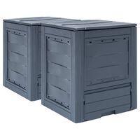 vidaXL kompostbeholdere til haven 2 stk. 60 x 60 x 73 cm 520 l grå