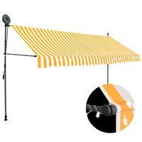 vidaXL foldemarkise manuel betjening med LED 350 cm hvid og orange