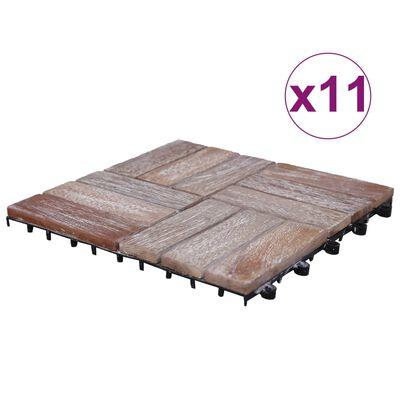 vidaXL terrassefliser 11 stk. 30x30 cm massivt genbrugstræ