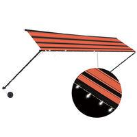 vidaXL foldemarkise med LED 400x150 cm orange og brun