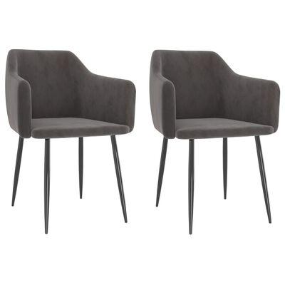 vidaXL spisebordsstole 2 stk. fløjl mørkegrå
