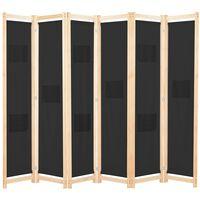 vidaXL 6-panels rumdeler 240 x 170 x 4 cm stof sort