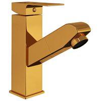 vidaXL vandhane m. udtræksfunktion til badeværelsesvask 157x172 mm guld