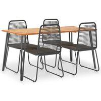 vidaXL udendørs spisebordssæt 5 dele massivt akacietræ og polyrattan
