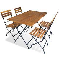 vidaXL foldbart udendørs spisebordssæt 5 dele massivt akacietræ