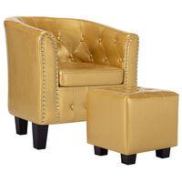vidaXL lænestol med fodskammel kunstlæder blank guldfarve