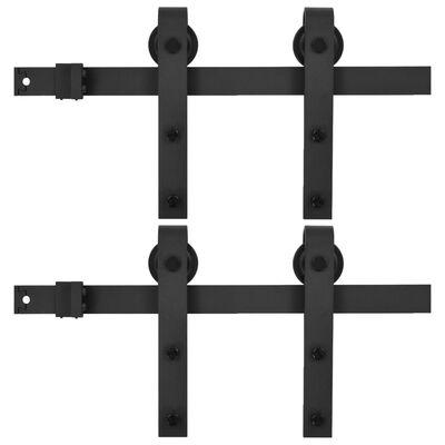 vidaXL skinnesæt til skydedøre 2 stk. 183 cm stål sort