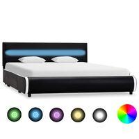 vidaXL sengestel med LED 160 x 200 cm kunstlæder sort