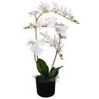 vidaXL kunstig orkidéplante med urtepotte 65 cm hvid