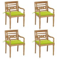vidaXL Batavia-stole med hynder 4 stk. massivt teaktræ