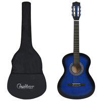"""vidaXL klassisk guitar med taske for begyndere 3/4 36"""" blå"""