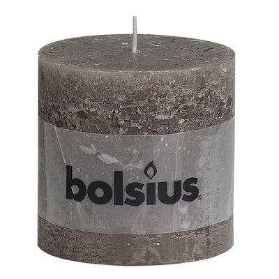 Bolsius rustikt søjlestearinlys 6 stk. 100x100 mm gråbrun