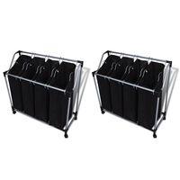 vidaXL vasketøjskurv med poser 2 stk. sort og grå