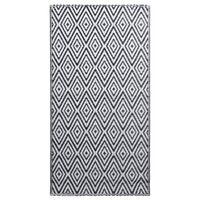 vidaXL udendørstæppe 120x180 cm PP hvid og sort