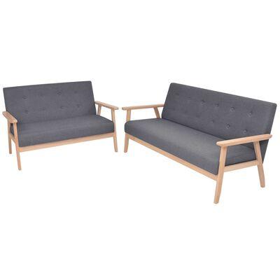vidaXL sofasæt i 2 dele stof mørkegrå