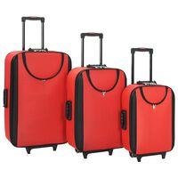 vidaXL kufferter 3 stk. blødt oxfordstof rød