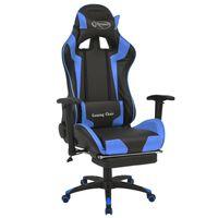 vidaXL racer-kontorstol med lænefunktion og fodstøtte blå