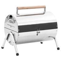 vidaXL transportabel bordgrill med dobbelt grillrist rustfrit stål