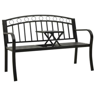 vidaXL havebænk med bord 125 cm stål sort