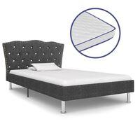 vidaXL seng med madras i memoryskum 90 x 200 cm mørkegrå stof