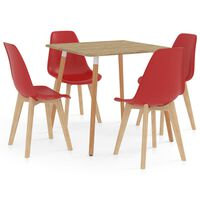 vidaXL spisebordssæt 5 dele rød