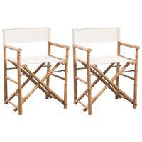 vidaXL foldbare instruktørstole 2 stk. bambus og lærred