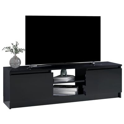 vidaXL tv-skab 120 x 30 x 35,5 cm spånplade sort højglans