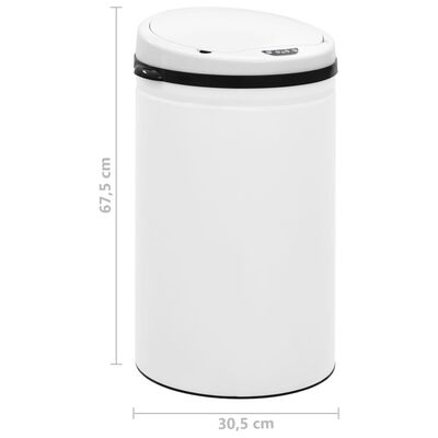 vidaXL affaldsspand med sensor 40 l kulstofstål hvid