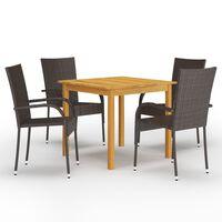 vidaXL spisebordssæt til haven 5 dele brun