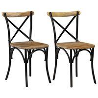 vidaXL krydsstole 2 stk. massivt mangotræ sort