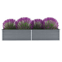 vidaXL forhøjet plantekasse 240x80x45 cm galvaniseret stål grå