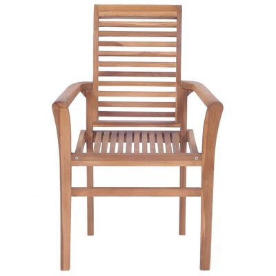 vidaXL spisebordsstole 2 stk. med sorte hynder massivt teaktræ