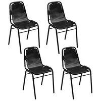 vidaXL spisebordsstole 4 stk. sort ægte læder