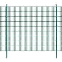 vidaXL 2D paneler og pæle til havehegn, 2.008x1.830 mm, 6 m, grønne
