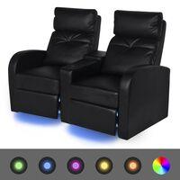 vidaXL 2-sæders LED Lænestol i kunstlæder, sort