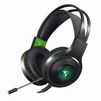 V5000 Gaming Headset med LED-grøn - USB + 3,5 mm