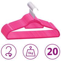 vidaXL bøjler 20 stk. skridsikre fløjl pink