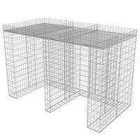 vidaXL gabionvæg til affaldsspand 190x100x130 cm galvaniseret stål
