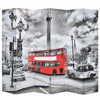 vidaXL foldbar rumdeler 228 x 170 cm London bus sort og hvid