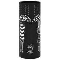 vidaXL paraplystativ kvinder stål sort