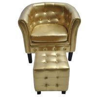 vidaXL lænestol med fodskammel kunstlæder guldfarvet