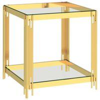 vidaXL sofabord 55x55x55 cm rustfrit stål og glas guldfarvet