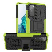 Stødbestandigt Cover Med Stativ Samsung Galaxy S20 Fe-grøn