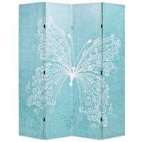 vidaXL foldbar rumdeler 160 x 170 cm sommerfugl blå