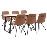 vidaXL spisebordssæt 9 dele kunstlæder brun