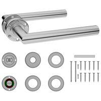 vidaXL dørhåndtagssæt med wc-lås rustfrit stål