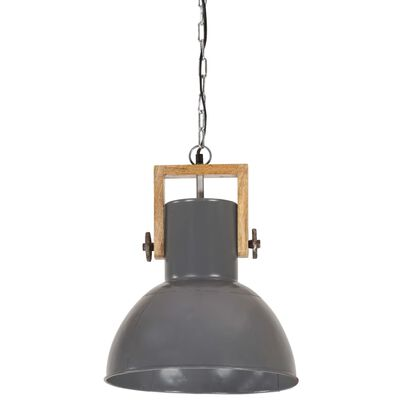 vidaXL industriel hængelampe 25 W rund 32 cm E27 mangotræ grå